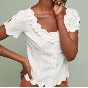 {Anthropologie} Maeve Aseey Scalloped Blouse NWT 8